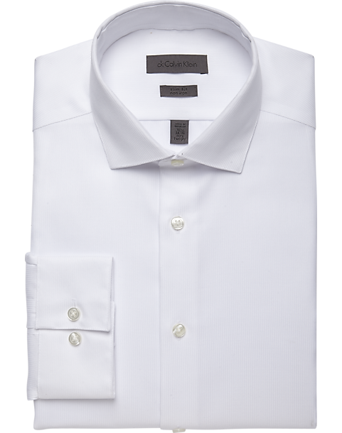 Calvin Klein White Corded Slim Fit Non-Iron Dress Shirt - Men's ...