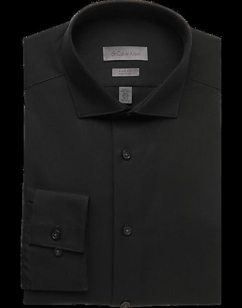 Calvin klein black slim fit non iron dress shirt men 39 s for Men s no iron dress shirts