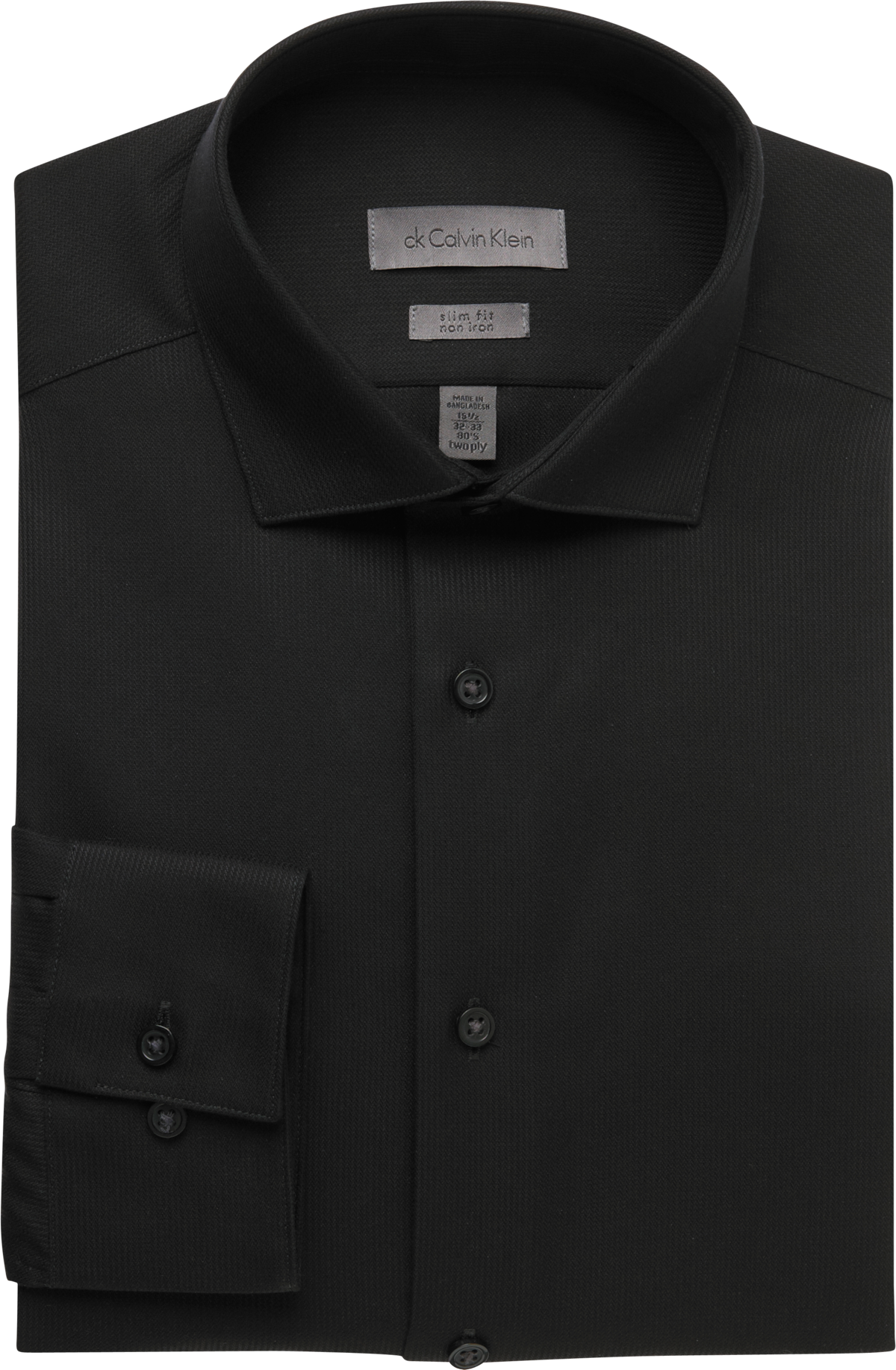 Calvin Klein Black Slim Fit Non-Iron Dress Shirt - Men's Slim Fit ...