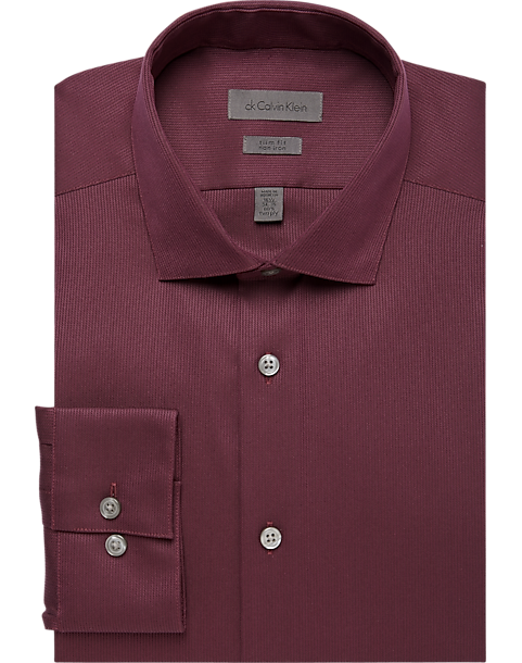 cc349c1d4ef0 Calvin Klein Burgundy Corded Slim Fit Non-Iron Dress Shirt - Men's ...
