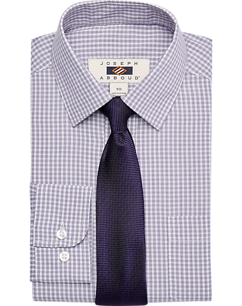 Joseph Abboud Boys Lavender Check Dress Shirt Tie Set