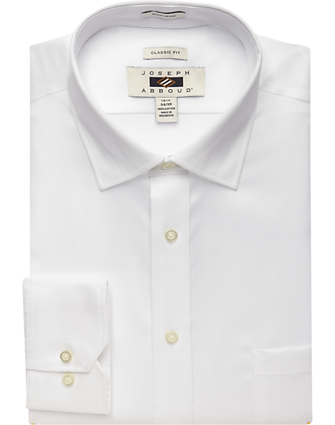 Joseph Abboud White Classic Fit Non-Iron Dress Shirt - Men's ...