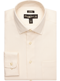 Pronto Uomo Ivory Queen's Oxford Slim Fit Non-Iron Dress Shirt (Ivory)
