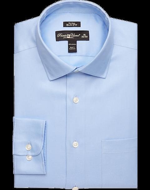 Pronto Uomo Blue Queen's Oxford Slim Fit Non-Iron Dress Shirt ...