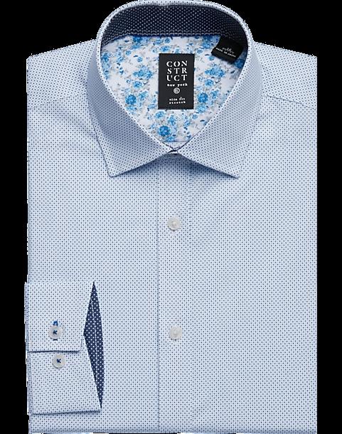 5aa835cdab Construct Blue Multi Dot Slim Fit Dress Shirt - Men's Shirts | Men's ...