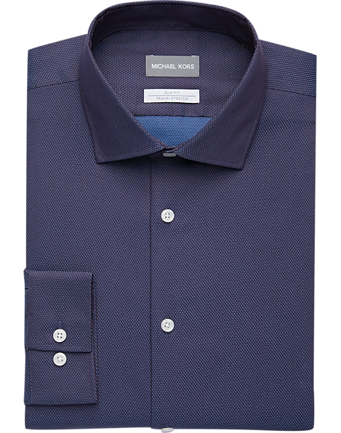 1070dce21 Michael Kors Blue & Red Woven Slim Fit Dress Shirt - Men's Shirts ...