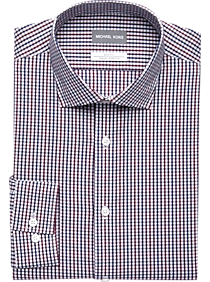 3fabfac637667b Mens Home - Michael Kors Wine   Navy Check Slim Fit Dress Shirt - Men s  Wearhouse