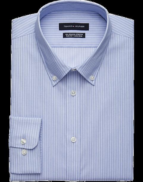 ba38ce120b5bcc Tommy Hilfiger Blue Stripe Slim Fit Dress Shirt - Men s Shirts ...