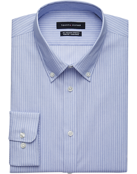 26308ad99 Tommy Hilfiger Blue Stripe Slim Fit Dress Shirt - Men's Shirts ...
