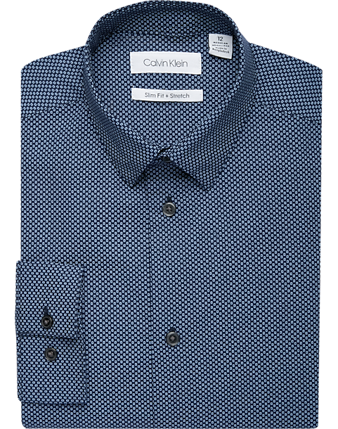 82cdadd4 Calvin Klein Boys Blue Box Dot Slim Fit Dress Shirt