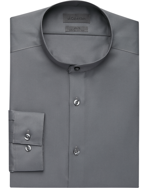 Calvin Klein Infinite Gray Slim Fit Banded Collar Dress Shirt (Several Colors)