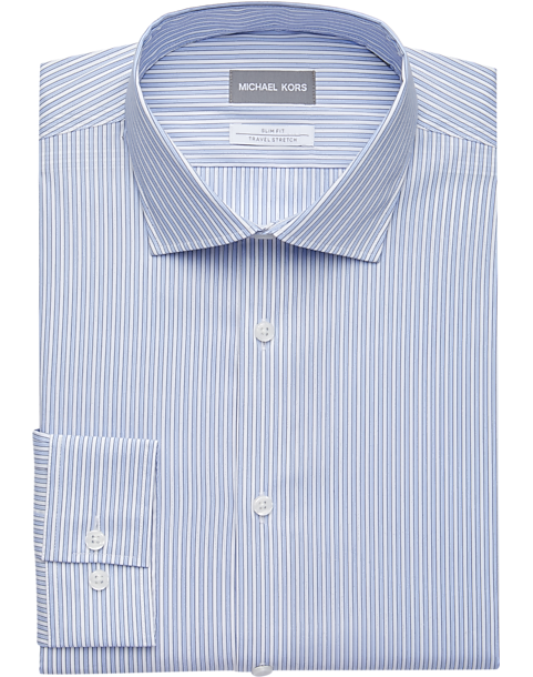 ba29c4fa2c2b Michael Kors Blue Multi-Stripe Slim Fit Dress Shirt - Men's Shirts ...