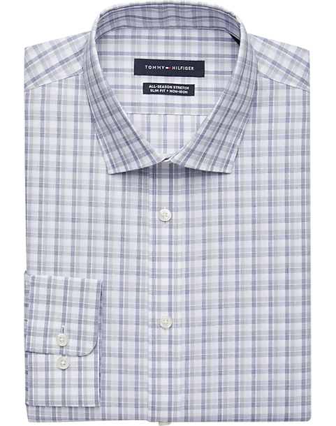 ce1d11206 Tommy Hilfiger Blue & Gray Check Slim Fit Dress Shirt - Men's Shirts ...