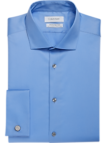 best loved a3890 084f3 Mens French Cuff, Dress Shirts - Calvin Klein Infinite Blue Extreme Slim  Fit Stretch Fabric
