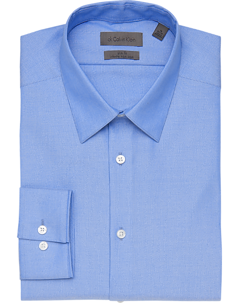 Calvin klein infinite non iron light blue stripe slim fit for Non iron slim fit dress shirts