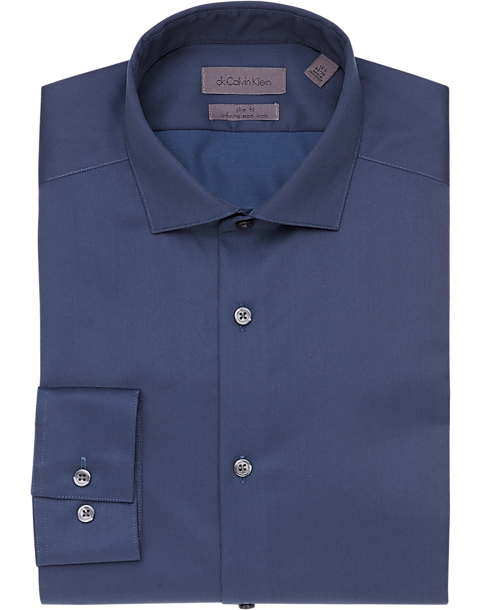 Calvin klein infinite non iron navy slim fit dress shirt for Calvin klein athletic fit dress shirt