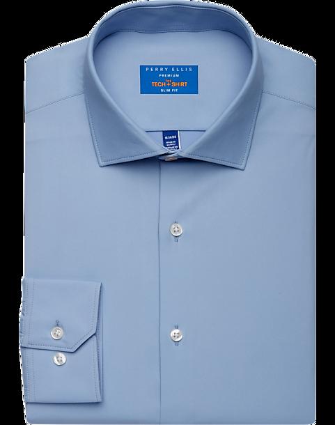 Perry Ellis Premium Blue Slim Fit Tech Dress Shirt