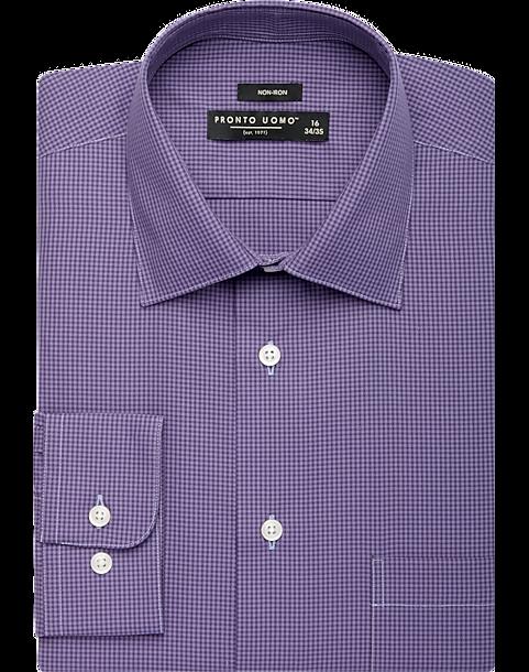 Pronto Uomo Plum Gingham Dress Shirt Mens Shirts Clothing Mens Wearhouse