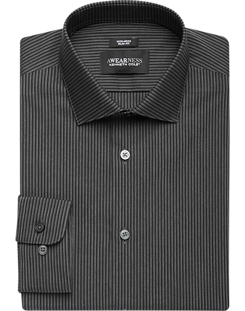 7b52462864 Awearness Kenneth Cole Black Stripe Slim Fit Dress Shirt - Men's ...