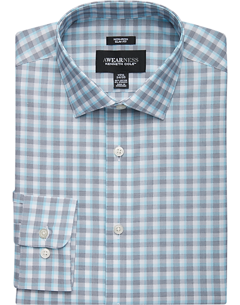 Awearness Kenneth Cole Teal Plaid Slim Fit Dress Shirt (various colors)