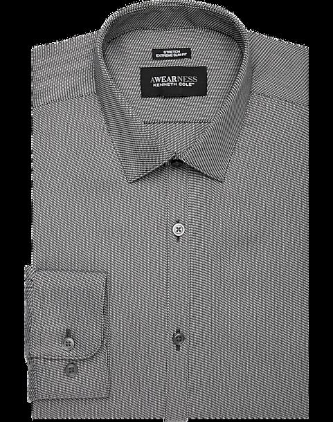 b9064b4015 Awearness Kenneth Cole Black Mini Check Extreme Slim Fit Dress Shirt ...