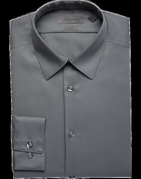 Calvin klein infinite non iron gray slim fit dress shirt for Non iron slim fit dress shirts