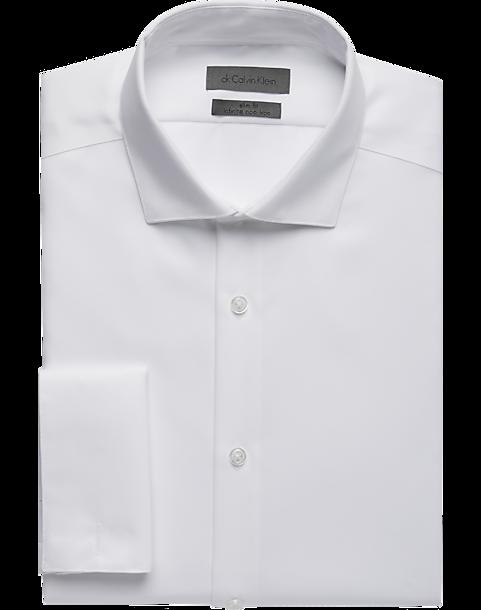 Calvin klein white slim fit french cuff dress shirt men for White french cuff shirt slim fit