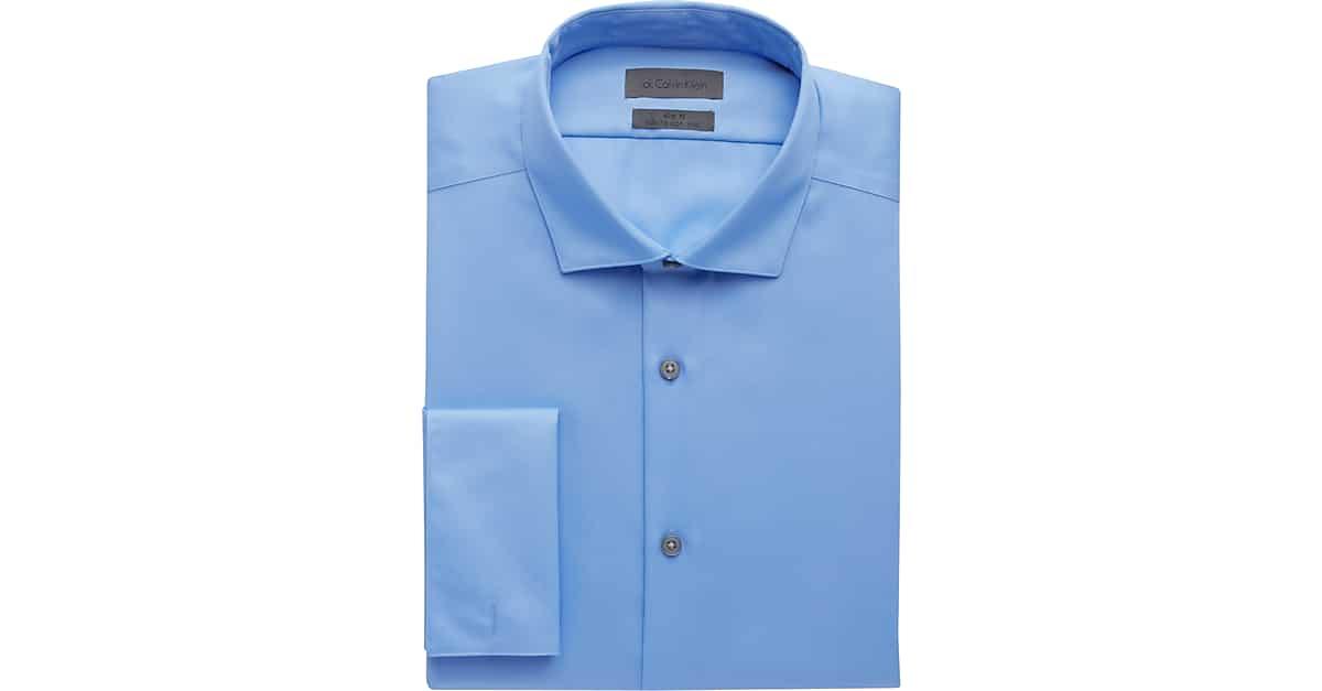6238686bafe Calvin Klein Light Blue Slim Fit French Cuff Dress Shirt - Men s Shirts
