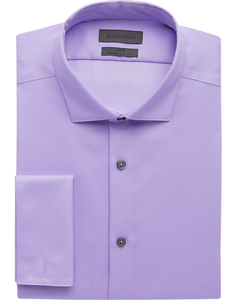 Calvin klein lavender slim fit french cuff dress shirt for Purple french cuff dress shirt