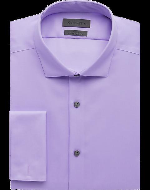 8d884acc34517 Calvin Klein Purple Diamond Pattern Slim Fit French Cuff Dress Shirt ...