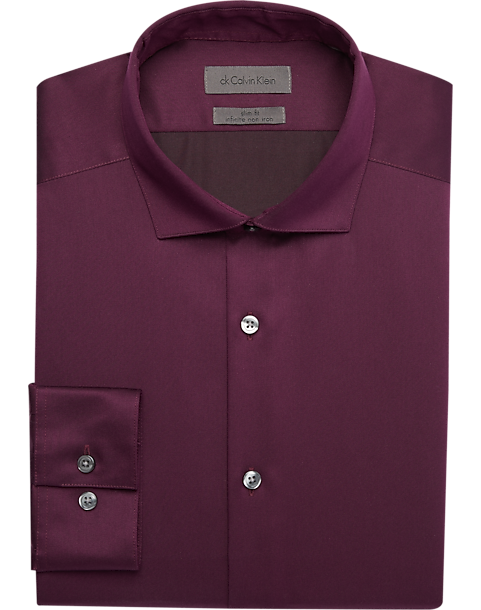 301e1a3972dc Calvin Klein Infinite Burgundy Slim Fit Dress Shirt - Men's Shirts ...