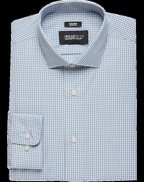 2bbdca37483 Awearness Kenneth Cole Light Blue Check Slim Fit Dress Shirt - Men s ...