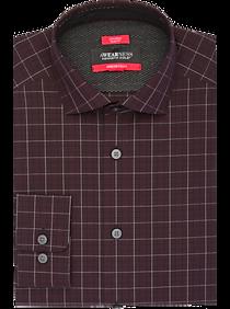 Awearness Kenneth Cole AWEAR-TECH Burgundy Plaid Slim Fit Dress Shirt