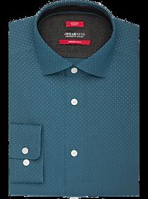 Awearness Kenneth Cole AWEAR-TECH Ocean Blue Dot Slim Fit Dress Shirt