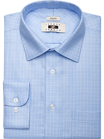 $69 New Jos A Bank executive line cotton sport shirt with Blue check pattern  L