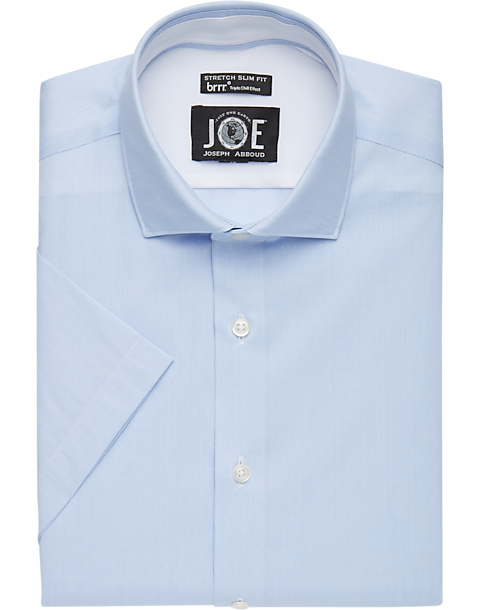 0639e736d144 JOE Joseph Abboud brrr° Light Blue Stripe Dot Short Sleeve Slim Fit ...