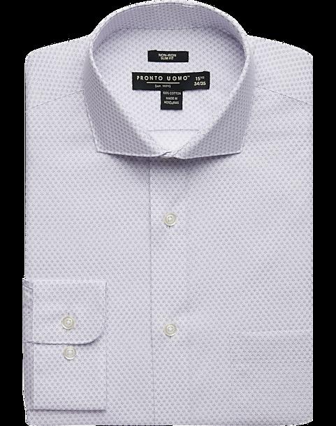 15513c40ca Pronto Uomo Lavender Mini Dot Slim Fit Dress Shirt - Men's Shirts ...