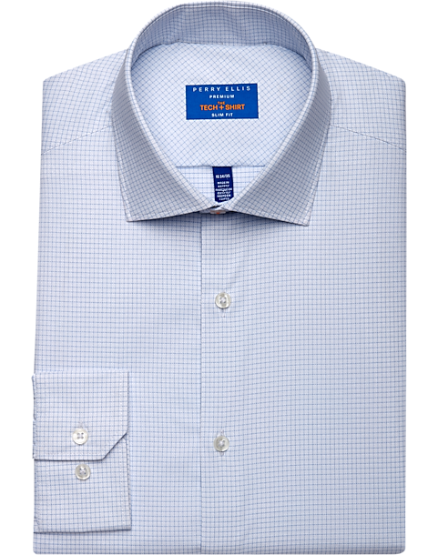 Perry Ellis Premium Blue Check Tech Dress Shirt