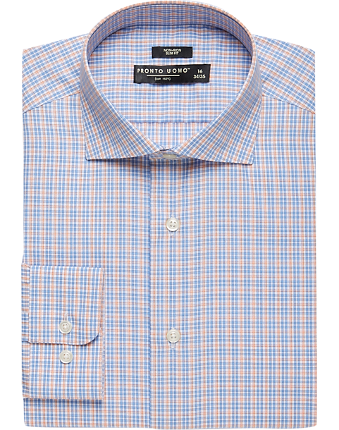 54f837fce1c Pronto Uomo Orange and Blue Check Slim Fit Dress Shirt - Men s ...