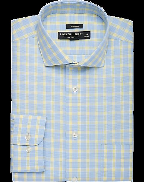 Pronto uomo blue yellow plaid dress shirt men 39 s slim for Blue and yellow plaid dress shirt