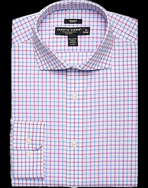 ed990093fd Pronto Uomo Pink & Blue Check Slim Fit Dress Shirt - Men's Shirts ...