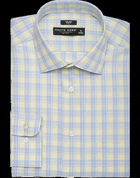 Pronto uomo yellow blue plaid slim fit dress shirt men for Blue and yellow dress shirt