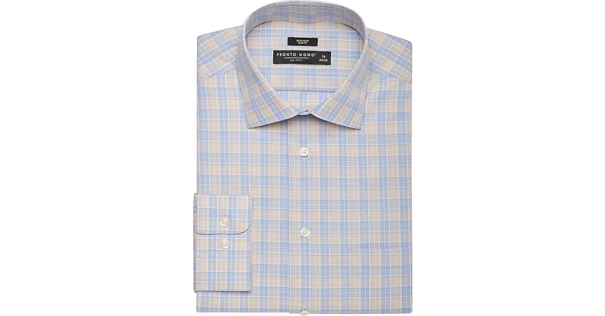 917901be6c4cb Pronto Uomo Taupe   Blue Plaid Slim Fit Dress Shirt - Men s Shirts ...