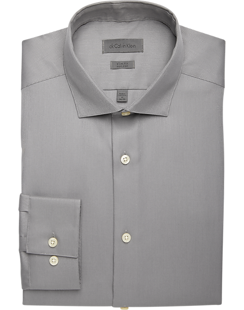 Clothing, Shoes & Accessories Shirts Mens Slim Fit Gray Textured Stripe Spread Collar Cotton Blend Dress Shirt
