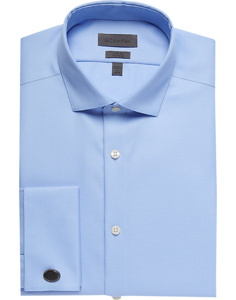 Calvin Klein Light Blue Slim Fit French Cuff Dress Shirt - Men's ...