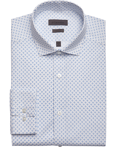 Calvin Klein Blue Stream Print Slim Fit Dress Shirt - Mens Dress Shirts,  Clothing -
