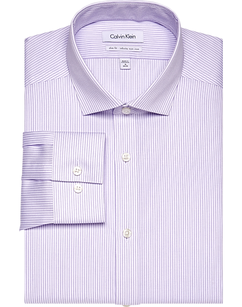 Calvin klein infinite non iron lavender stripe slim fit for Non iron slim fit dress shirts