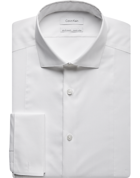 Calvin klein white slim fit french cuff tuxedo shirt men White french cuff shirt slim fit