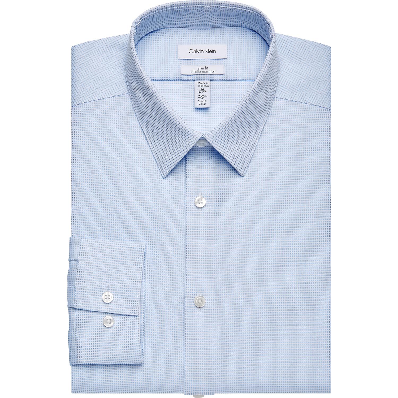Calvin Klein Infinite Non-Iron Light Blue Check Slim Fit Dress ...
