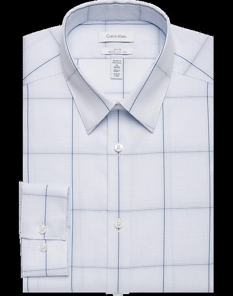 d1c7f6fd57d9 Calvin Klein Infinite Non-Iron Blue Windowpane Slim Fit Dress Shirt ...